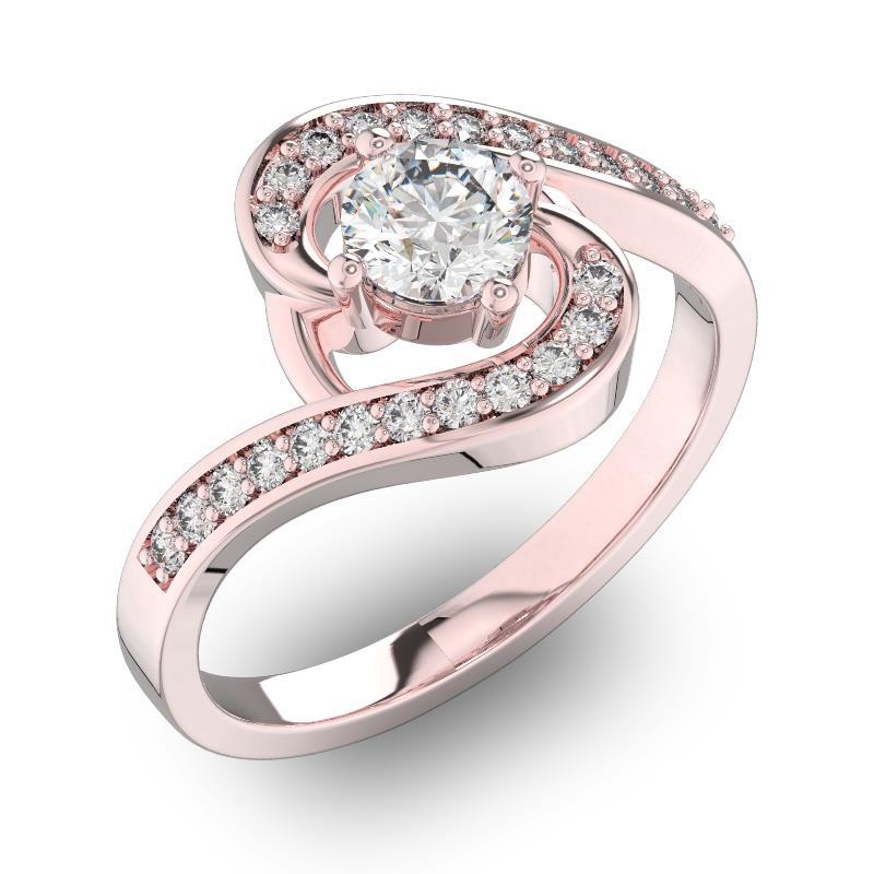 Помолвочное кольцо с 1 бриллиантом 0,45 ct 4/5  и 22 бриллиантами 0,13 ct 4/5 из розового золота 585°, артикул R-D30659-3