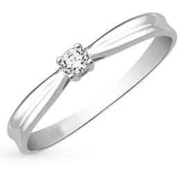Кольцо с 1 бриллиантом 0,12 ct 4/6  из белого золота 585°, артикул R-GGR37-2
