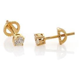 Серьги с 2 бриллиантами 0,47 ct 4/5 из желтого золота 585, артикул R-TEA01503-01