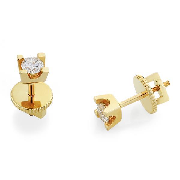 Серьги с 2 бриллиантами 0,30 ct 4/5 из желтого золота 585°, артикул R-des2007-030-1