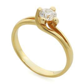 Кольцо с 1 бриллиантом 0,50 ct 6/7 желтое золото 585°, артикул R-НП 014