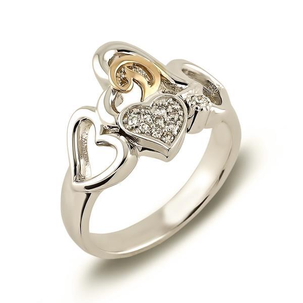 Кольцо с 11 бриллиантами  0,10 ct 4/4 из белого золота, артикул R-DRN10461-01