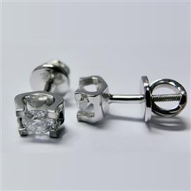 Серьги-пусеты с 2 бриллиантами 0,44 ct 3/6 белое золото 585°, артикул R-LP007-2
