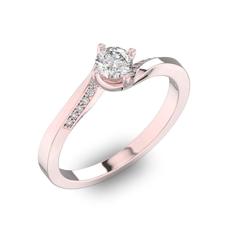 Помолвочное кольцо с 1 бриллиантом 0,40 ct 4/5  и 14 бриллиантами 0,04 ct 4/5 из розового золота 585°, артикул R-D41072-3