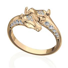 Кольцо с 28 бриллиантами 0,35 ct 4/5 из желтого золота 585°, артикул R-R47717-1