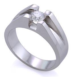 Мужское кольцо из белого золота 750 пробы с сертифицированным бриллиантом 0,5 карат (сертификат GIA2146279925), артикул R-89123