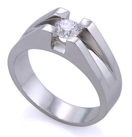 Мужское кольцо с 1 бриллиантом 0,50 ct 4/5 из белого золота 585°, артикул R-89123