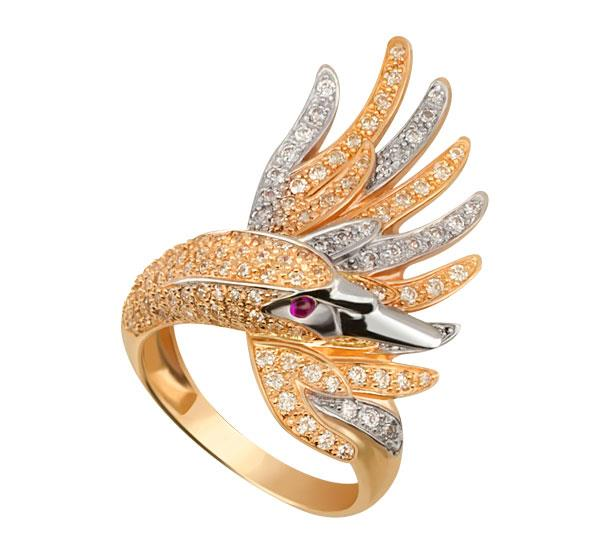 Кольцо Лебедь золото фианит, артикул R-ТТ1256