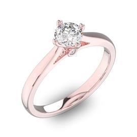 Помолвочное кольцо 1 бриллиантом 0,5 ct 4/5 и 2 бриллиантами 0,02 ct 4/5 из розового золота 585°, артикул R-D41799-3
