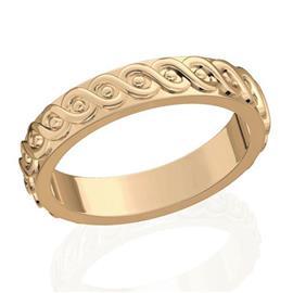 Обручальное кольцо дизайнерское из розового золота, ширина 4 мм, комфортная посадка, артикул R-W45975-2