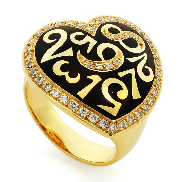 Кольцо с 46 бриллиантами 0,55 ct 4/5  из желтого золота, артикул R-СК1383