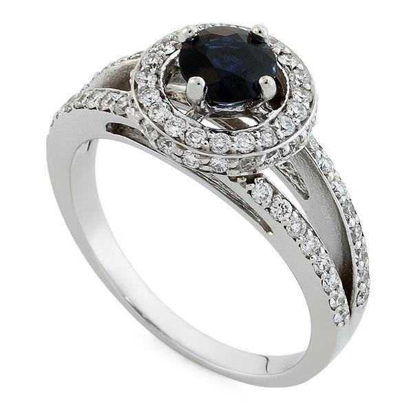 Кольцо с 1 сапфиром 0,84 ct 3/3 и 70 бриллианта 0,49 ct 4/5 из белого золота 585°, артикул R-НП 044И-2