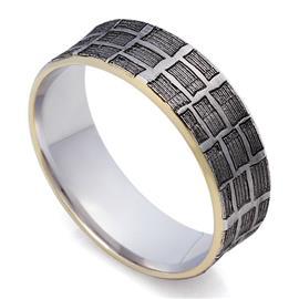 Обручальное  дизайнерское кольцо из белого и желтого золота 585 пробы и черным родием, артикул R-St111e