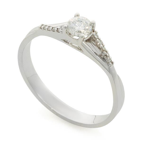 Помолвочное кольцо с 11 бриллиантами 0,31 ct 3/5 (центр 1 бриллиант 0,26 ct 3/5, боковые 10 бриллиантов 0,05 ct 3/4)  белое золото, артикул R-TRN05161-01