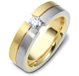 """Обручальное кольцо с бриллиантом из белого и желтого золота 858 пробы, серия """"Diamond"""", артикул R-1776"""