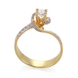 Помолвочное кольцо с 23 бриллиантами 0,61 ct (центр 1 бриллиант 0,32 ct 5/6, боковые 22 бриллианта 0,29 ct 4/5) желтое золото, артикул R-СА117