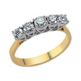 Кольцо с 5 бриллиантами 0,66 ct (центр 1 бриллиант 0,18 ct  4/5, боковые 4 бриллианта 0,48 ct 4/5) желтое золото, артикул R-ALY01076-01