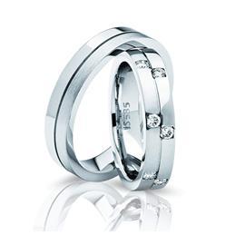 Обручальные кольца парные из белого золота 585 пробы, артикул R-ТС 3331