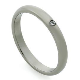 Обручальное кольцо из титана с 1 бриллиантом, артикул R-Т4001