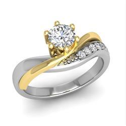 Кольцо с 1 бриллиантом 0,45 ct 4/5 и 7 бриллиантами 0,12 ct 4/5 из белого и желтого золота 585°, артикул R-D47372-1