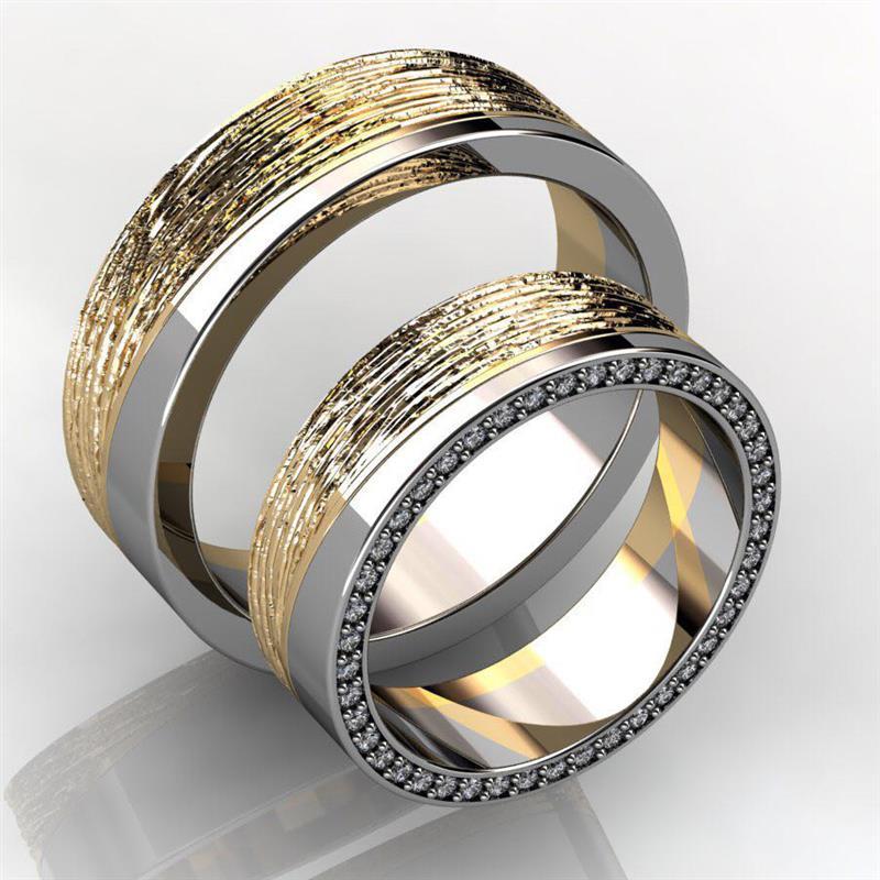 Обручальные кольца парные с бриллиантами из золота 585 пробы, артикул R-GGR57