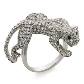 Кольцо с 297 бриллиантами 2,31 ct 4/5 и 2 чёрными бриллиантами 0,02 ct из белого золота, артикул R-СК750