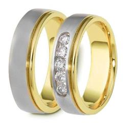 Обручальные кольца эксклюзивные дизайнерские белое и желтое золото, артикул R-ТС 1637