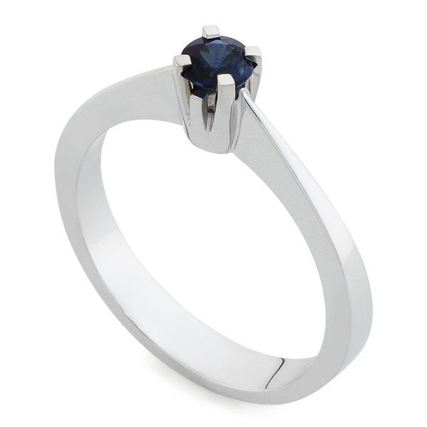 Кольцо с 1 сапфиром 0,34 ct 3/3 из белого золота 585°, артикул R-TKRF805C-2