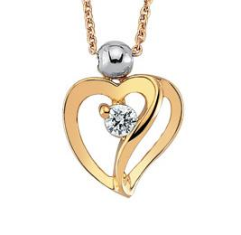Цепь с подвеской из розового золота с 1 бриллиантом 0,04 ct 3/4, артикул R-NDB00099-01