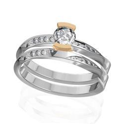 Кольцо с 1 бриллиантом 0,45 ct 4/5 и 14 бриллиантами 0,11 ct 4/5 из белого золота 585°, артикул R-D47374-2