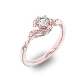 Помолвочное кольцо с 1 бриллиантом 0,35 ct 4/5  и 6 бриллиантами 0,05 ct 4/5 из розового золота 585°, артикул R-D29104-3