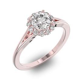 Помолвочное кольцо с 1 бриллиантом 0,7 ct 4/5  и 14 бриллиантами 0,17 ct 4/5 из розового золота 585°, артикул R-D32652-3