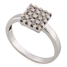 Кольцо c 16 бриллиантами 0,38 ct 4/5 из белого золота, артикул R-XR14700