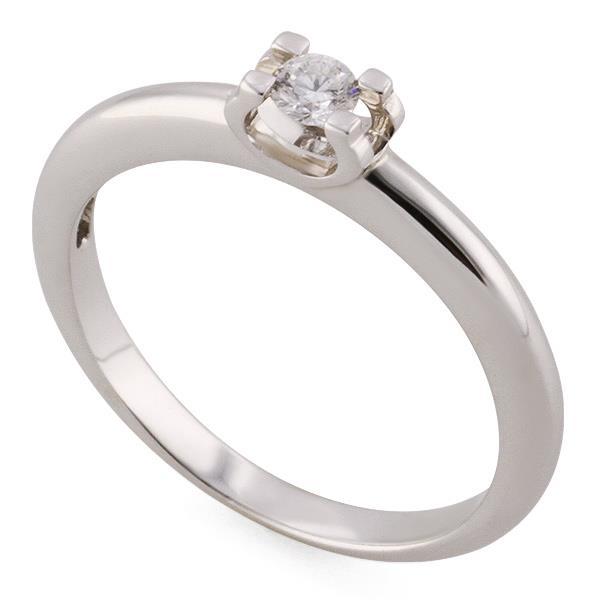 Помолвочное кольцо из белого золота 750 пробы с 1 бриллиантом 0,10 карат,  артикул 1a0a837c900