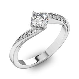 Помолвочное кольцо с 1 бриллиантом 0,45 ct 4/5  и 14 бриллиантами 0,1 ct 4/5 из белого золота 585°, артикул R-D42127-2