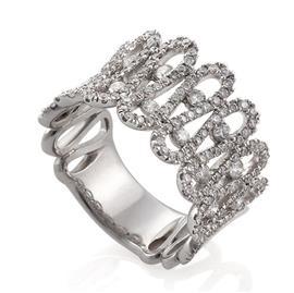 Кольцо с 190 бриллиантами 1,36 ct 4/4 из белого золота, артикул R-СК711