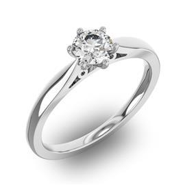 Помолвочное кольцо 1 бриллиантом 0,55 ct 4/5 из белого золота 585°, артикул R-D32270-2