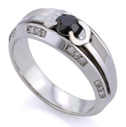 Мужское кольцо с черным бриллиантом 0,42 ct и 24 белыми бриллиантами 0,22 ct 4/4 из белого золота, артикул R-AC 042
