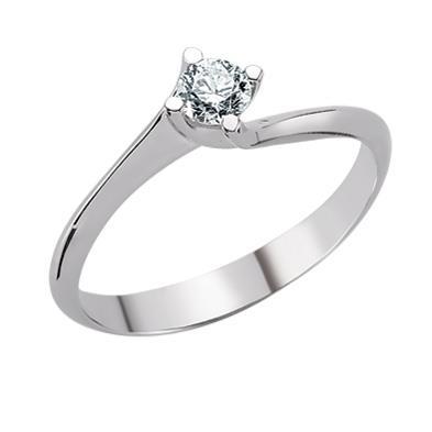 Помолвочное кольцо с 1 бриллиантом 0,10 ct 2/5 белое золото, артикул R-TRN05429-12