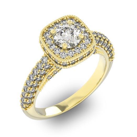 Кольцо с 1 бриллиантом 0,7 ct 4/5 и 96 бриллиантами 0,89 ct 4/5 из желтого золота 585°