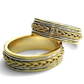 Обручальные кольца парные с бриллиантом из золота 585 пробы, артикул R-ТС 1567