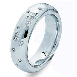 Обручальное кольцо с 15 бриллиантами 0,20 карат белое золото 585 проба, артикул R-010