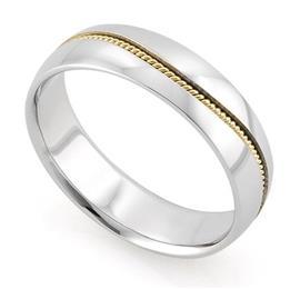 Обручальное кольцо из двухцветного золота 585 пробы, артикул R-V1013