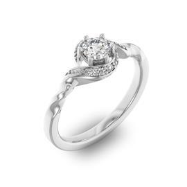 Помолвочное кольцо с 1 бриллиантом 0,35 ct 4/5  и 6 бриллиантами 0,05 ct 4/5 из белого золота 585°, артикул R-D29104-2