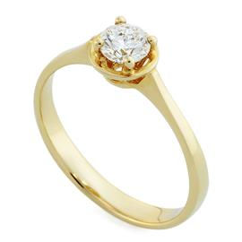 Помолвочное кольцо с 1 бриллиантом 0,40 ct 6/6 желтое золото 585°, артикул R-НП 005