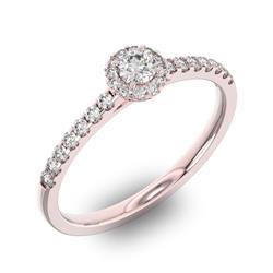 Помолвочное кольцо 1 бриллиантом 0,2 ct 4/5 и 26 бриллиантами 0,2 ct 4/5 из розового золота 585°, артикул R-D36029-3