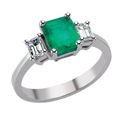 Кольцо с 1 изумрудом 1,15 ct 3/3 и 2 бриллиантами 0,46 ct 4/4 из белого золота, артикул R-ERN01873-04