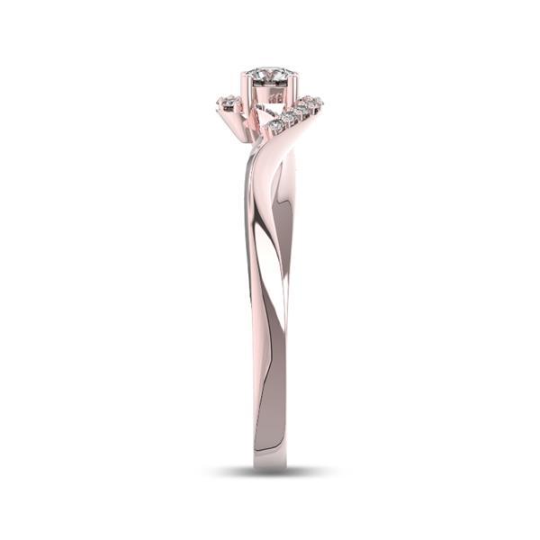 Помолвочное кольцо с 1 бриллиантом 0,15 ct 4/5  и 12 бриллиантами 0,04 ct 4/5 из розового золота 585°