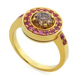 Кольцо с 1 бриллиантом фэнтези 1,07 и 20 розовыми сапфирами 0,58 ct из желтого золота 750°, артикул R-SGC-008749