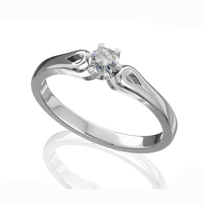 Помолвочное кольцо с 1 бриллиантом 0,20 ct 3/6  из белого золота 585°, артикул R-D40074-2
